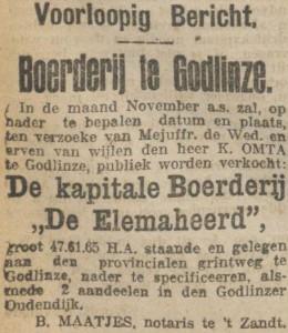 Elemaheerd Verkoop (Nieuwsblad van het Noorden, 03-10-1916)