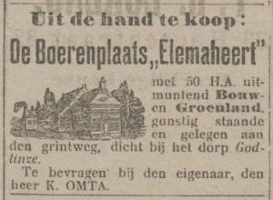 Elemaheerd Verkoop (Nieuwsblad van het Noorden, 12-10-1915)