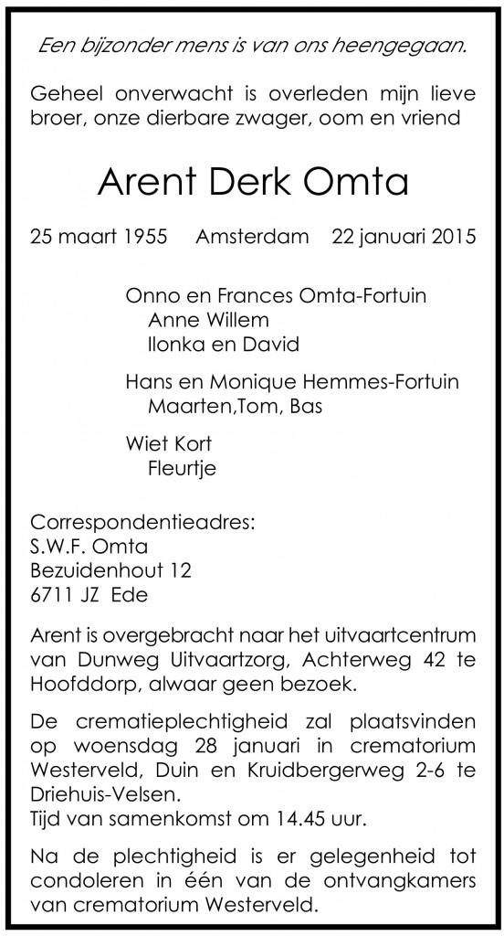 Arent Derk Omta (1955 - 2015), advertentie